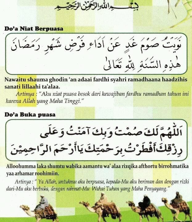 Doa Berbuka Puasa dan Niat Puasa
